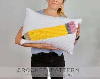 Pencil Pillow Crochet Pattern, Back to School Crochet Pattern, Teacher Crochet Pattern, Crochet Pillow, Classroom Decor, Beginner Crochet