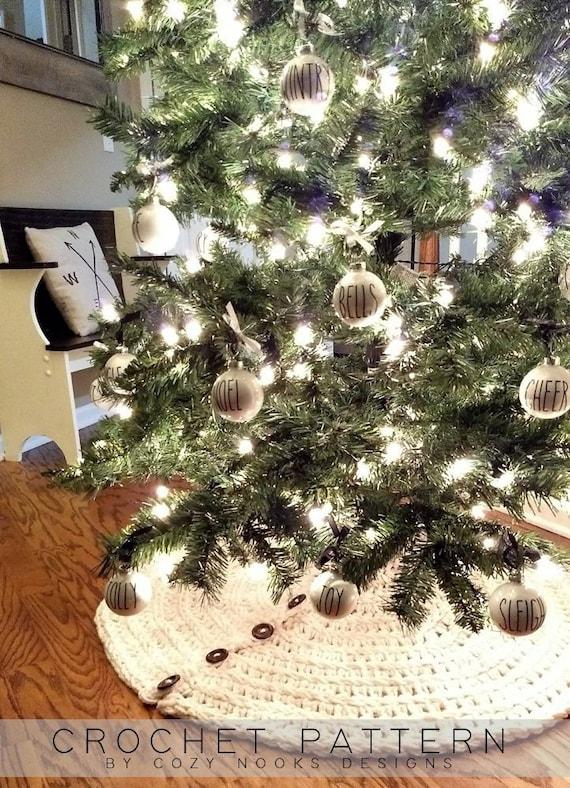 image 0 - Farmhouse Christmas Tree Skirt Crochet Pattern Farmhouse Etsy