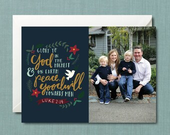 Whimsical Foliage Christian Christmas Photo Card // DIY PRINTABLE 5x7 File // Christmas Card, Holiday Card, Personalized Christmas Card