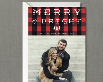 Buffalo Plaid Merry & Bright Christmas Photo Card // DIY PRINTABLE 5x7 File // Christmas Card, Holiday Card, Personalized Christmas Card