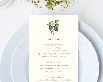 Minimal Vintage Botanical Wedding Menu // 4x9 DIY DIGITAL Menu // Wedding Menu, Whimsical Wedding, Modern Wedding