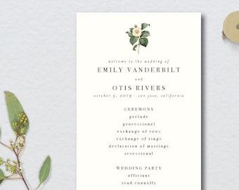 Minimal Vintage Botanical Wedding Program // 4x11 // DIY DIGITAL FILE Wedding Program // Day Of Wedding, Wedding Timeline