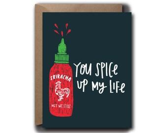 Sriracha Love Greeting Card // 1 4.25x5.5 PRINTED Card + Envelope // Hand Lettered Card, Greeting Card