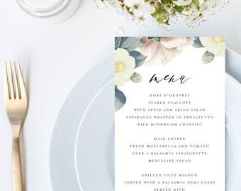 Elegant Vintage Floral Botanical Wedding Menu // 4x9 DIY DIGITAL Menu // Wedding Menu, Whimsical Wedding, Modern Wedding