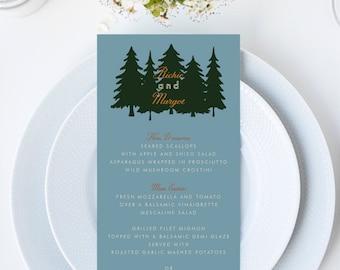 Wes Anderson Moonrise Kingdom Forest Wedding Menu // 4x9 DIY DIGITAL Menu // Wedding Menu, Whimsical Wedding, Forest Wedding