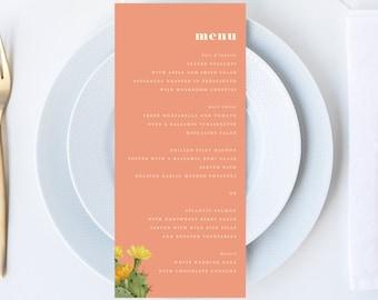 Vintage Peach Desert Cactus Wedding Menu // 4x9 DIY DIGITAL Menu // Wedding Menu, Whimsical Wedding, Modern Wedding