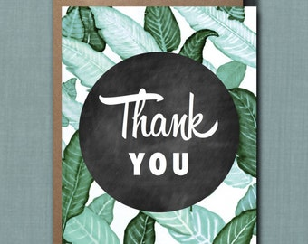 Whimsical Banana Leaves Thank You Greeting Card // 1 4.25x5.5 PRINTED Card + Envelope // Greeting Card, Thank You Card, Party Thank You