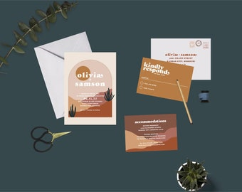 Southwest Desert Arch Wedding Suite // DIY PRINTABLE Invite + RSVP // Modern Wedding, Desert Wedding, Southwest Wedding