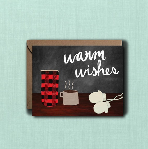Warm wishes christmas greeting card 1 425x55 printed card m4hsunfo