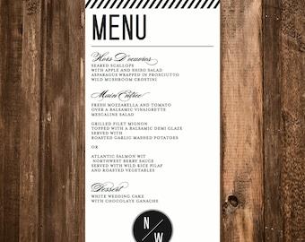 Modern Stripe Wedding Menu // 4x9 DIY Printable Menu // Modern Wedding, Wedding Menu, Black and White Menu, Typography Menu