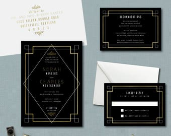 Geometric Deco Lines Wedding Suite // DOWN PAYMENT towards Printed Sets // Modern Wedding, Deco Wedding, Art Deco, Geometric Wedding