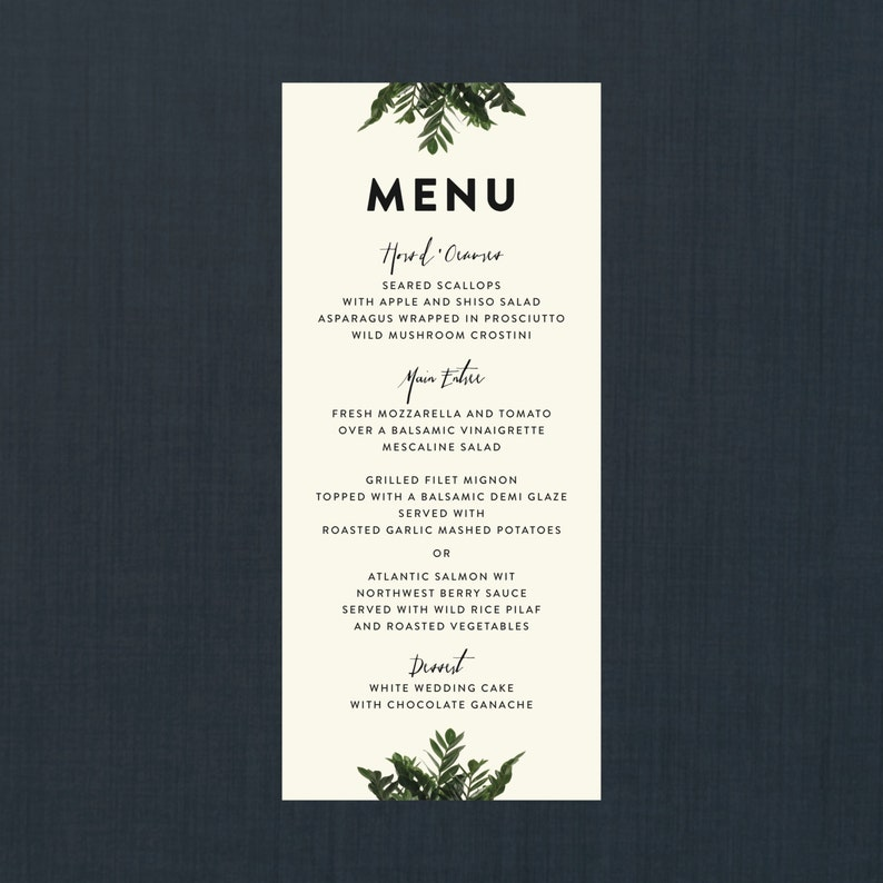 Botanical Wedding Down Modern MenuWedding Towards Printed Payment Menu Menus 4x9 ZiTXOPuk