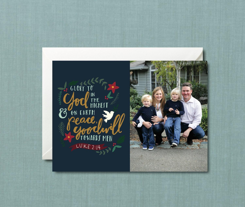 Whimsical Foliage Christian Christmas Photo Card Diy Etsy