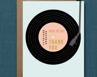 Whimsical Record Thank You Greeting Card // 1 4.25x5.5 PRINTED Card + Envelope // Greeting Card, Thank You Card, Party Thank You