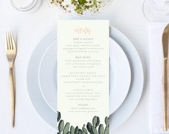 Retro Vintage Cacti Wedding Menu // 4x9 DIY DIGITAL Menu // Wedding Menu, Whimsical Wedding, Botanical Wedding