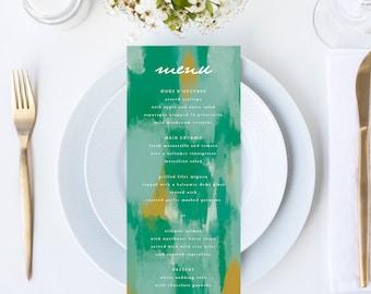 Chic Abstract Shades of Green Wedding Menu // 4x9 DIY DIGITAL Menu // Wedding Menu, Whimsical Wedding, Modern Wedding