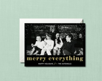 Confetti Merry Everything Christmas Photo Card // DIY PRINTABLE 5x7 // Christmas Card, Holiday Card, Personalized Christmas Photo Card