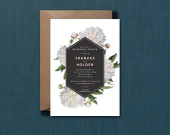 Vintage White Floral Botanical Rehearsal Dinner Invitation // DIY PRINTABLE // Modern Wedding