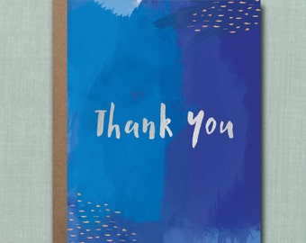 Whimsical Navy Watercolor Thank You Greeting Card // 1 4.25x5.5 PRINTED Card + Envelope // Greeting Card, Thank You Card, Party Thank You