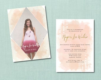 Modern Watercolor Graduation Invitation // DIY PRINTABLE // Modern Invite, Graduation Announcement