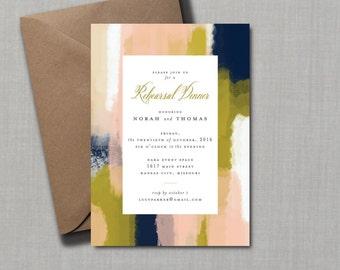 Modern Brush Stroke Rehearsal Dinner Invitation // DIY PRINTABLE // Modern Wedding, Whimsical Wedding