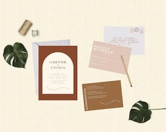 Boho Terracotta Arch Wedding Suite // DOWN PAYMENT towards Printed Sets // Modern Wedding, Terracotta Wedding, Southwest Wedding