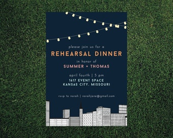 Skyline Wedding Rehearsal Dinner Invitation // DIY Printable // Modern Invitation