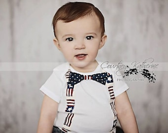 Fourth of July Onesie Bodysuit/ Vintage Suspenders and Navy Dot Bow Tie /PhotoProp/Patriotic /4th of July/Red, White and Blue