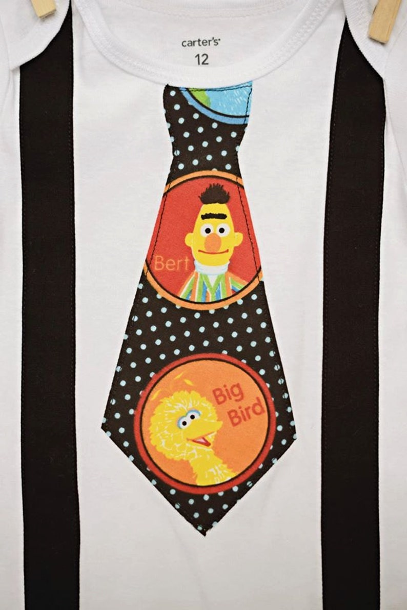 BIG BIRD and ERNIE  Black suspenders with a Big Bird and Ernie and  Sesame Street Bib  First Birthday Onesie Photo Prop Made to Order
