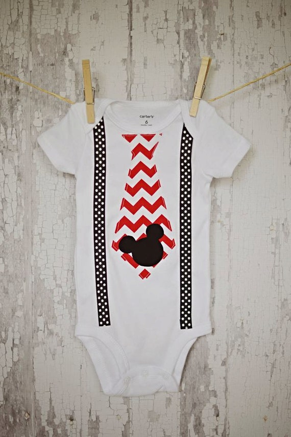 25aa34336 Mickey Mouse Onesie / Baby Boy Suspenders with Red & White | Etsy