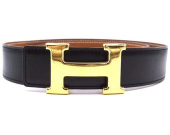 bc52cfbe3 Hermès Black On Gold 32mm Classic H Reversible Leather Size 70 Belt