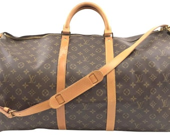 6496ebd0e16b Louis Vuitton Keepall with Strap 60 Bandouliere Duffel Monogram Coated  Canvas Weekend Travel Bag