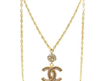 862d0ecad4b Chanel Gold Rare Cc Large Textured Long Chain Necklace