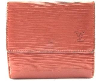 e0d70bb97236 Louis Vuitton Fawn Epi Double Sided Flap Coin Card Bill Holder Lv Monogram  Logo Wallet