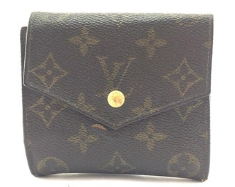70b10426d958 Louis Vuitton Monogram Square Double Sided Flap Trifold Coin Change Holder  Wallet