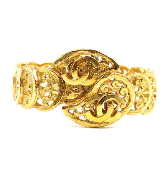 Chanel Gold Rare Cc Cutout Wide Cuff Bangle Bracel