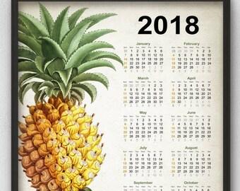 Pineapple Calendar 2018 - Vintage Pineapple Decor - 2018 Vintage Pineapple Kitchen Calendar - Pineapple Art - 2018 Pineapple Calendar