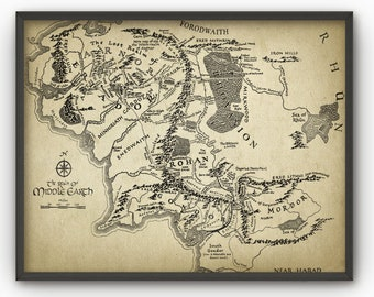 lord of the rings map wall art poster middle earth map lord of the