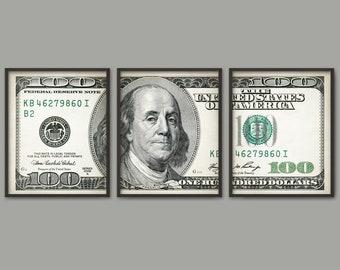 100 dollar bill art poster set of 3 dollar triptych print etsy