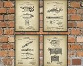 Blacksmith Patent Print Set of 4 - Blacksmith Equipment - Hammer - Forge - Tongs - Metalworker - Forging - Metallurgy - Blacksmith Gift Idea