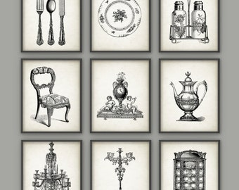 Genial Dining Room Art Prints Set Of 9   Vintage Home Decor Posters   Antique Home  Furnishings Art Print   Dining Room Wall Art Posters Set Of Nine