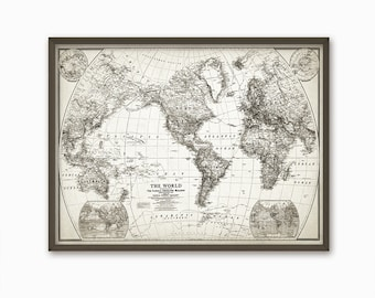 Vintage Looking World Map.World Map Etsy