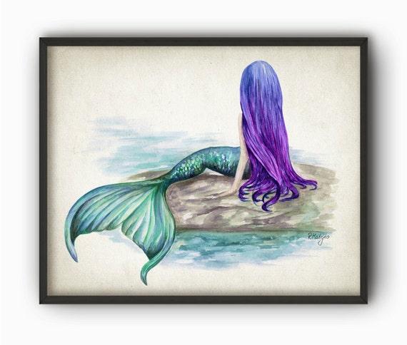 Mermaid Watercolor Art Print Painting Wall