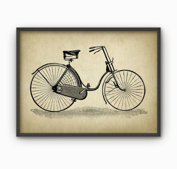 Vintage Bicycle Wall Art Poster 5 Bicycle Illustration | Etsy