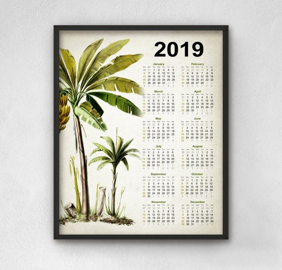 Palm Tree Calendar 2019 Banana Tree Calendar Tropical Palm Etsy