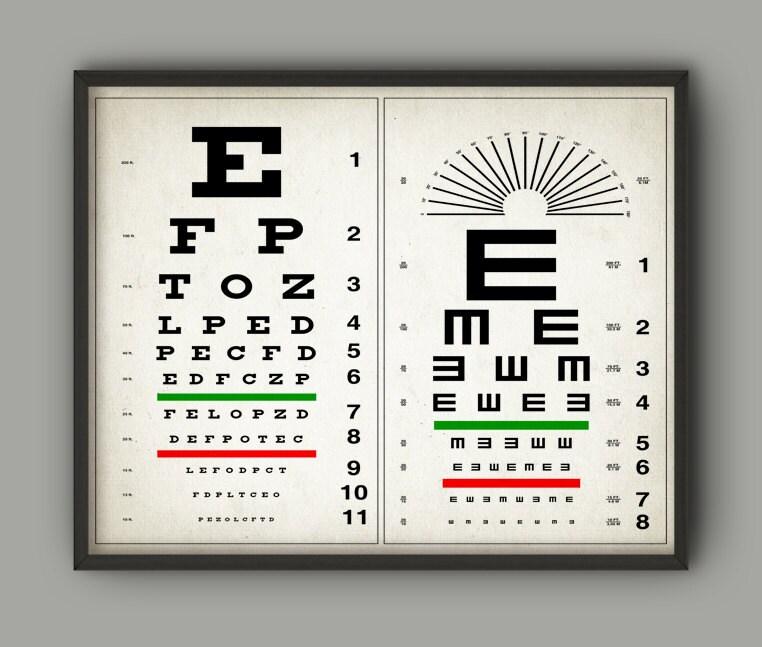 Tabla optométrica imprimir cartel de Optometría ojo   Etsy