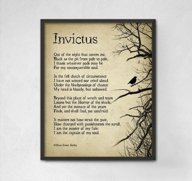 316c31140e Invictus poesia di William Ernest Henley tipografia stampa | Etsy