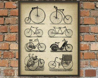 Vintage Bicycle Wall Art Poster - Bicycle Illustration - Early Motor Cycle - Vintage Bicycle Designs - Tandem - Tricycle - Penny Farthing