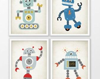 Cute Robot Nursery Prints Set Of 4 - Robot Art - Baby Boy Shower Gift - Kids Playroom Decor - Boys Nursery Pictures - Robot Wall Art #172
