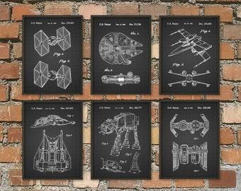 Star Wars Patent Prints Set Of 6 - Star Wars Millennium Falcon - Star Wars Bedroom Wall Art - Star Wars Movie Patents - Science Fiction
